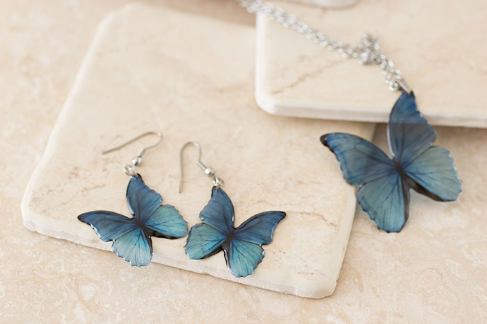 Blue Morpho Set of Earrings and Necklace