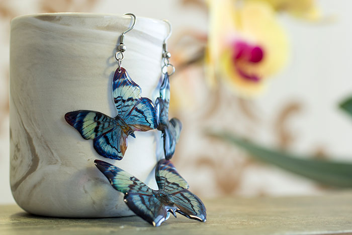 Divalis Butterfly. brooch and earrings