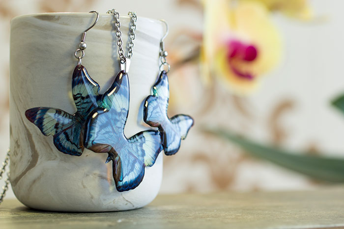 Divalis Butterfly. necklace and earrings