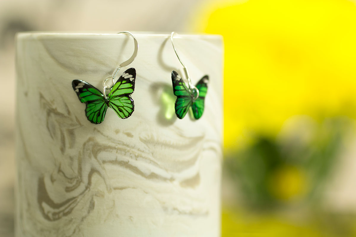 Garden Flower and Monarch. Monarch earrings on silver - Green