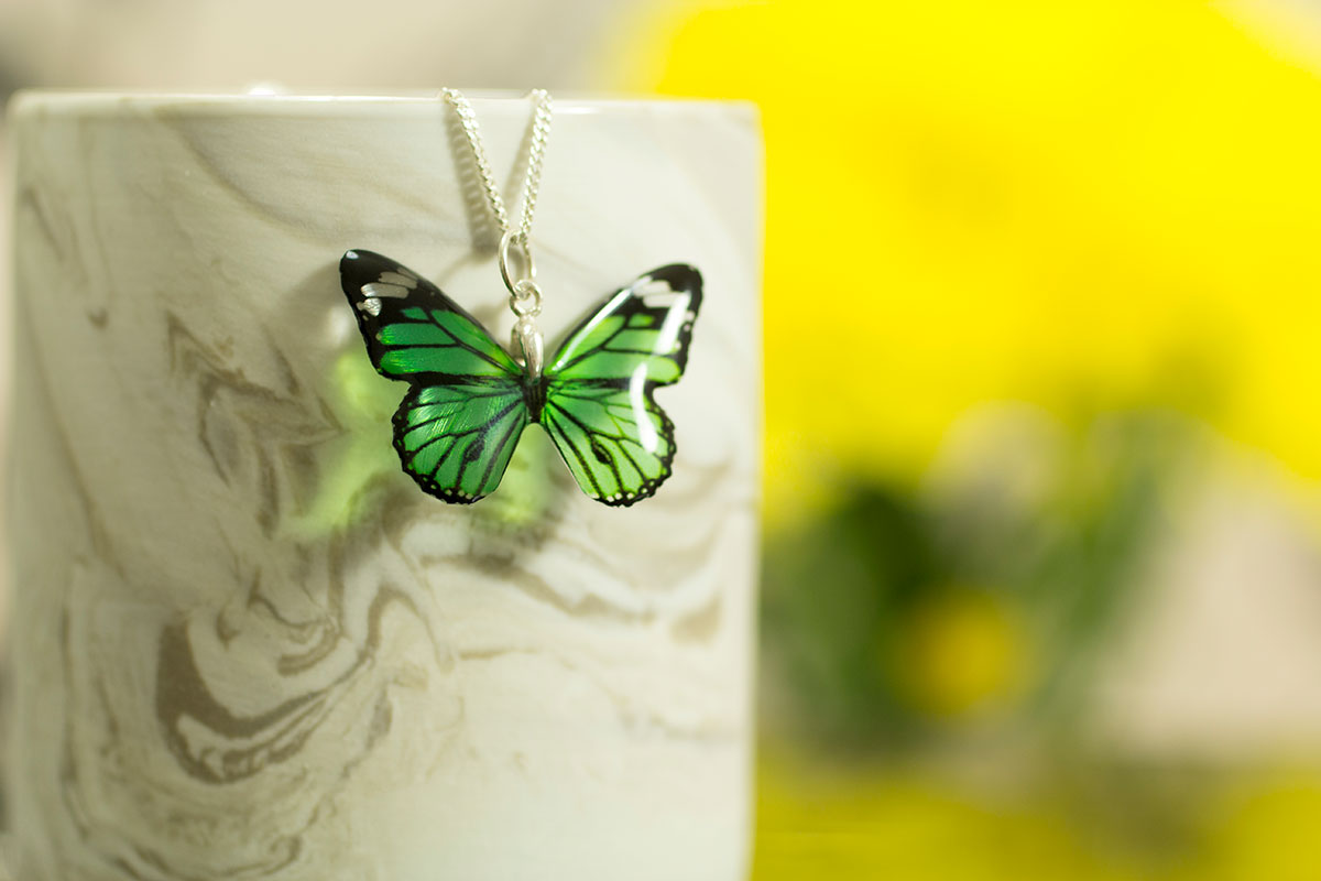 Garden Flower and Monarch. New Colours. Monarch necklace on silver chain - Green