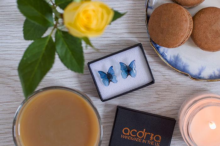 Blue Morpho Butterfly Studs