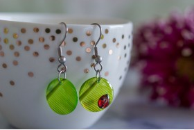 Banana leaf with ladybird earrings