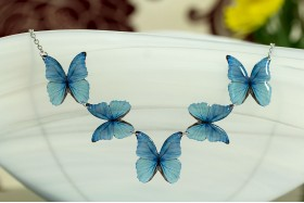Blue morpho butterflies necklace
