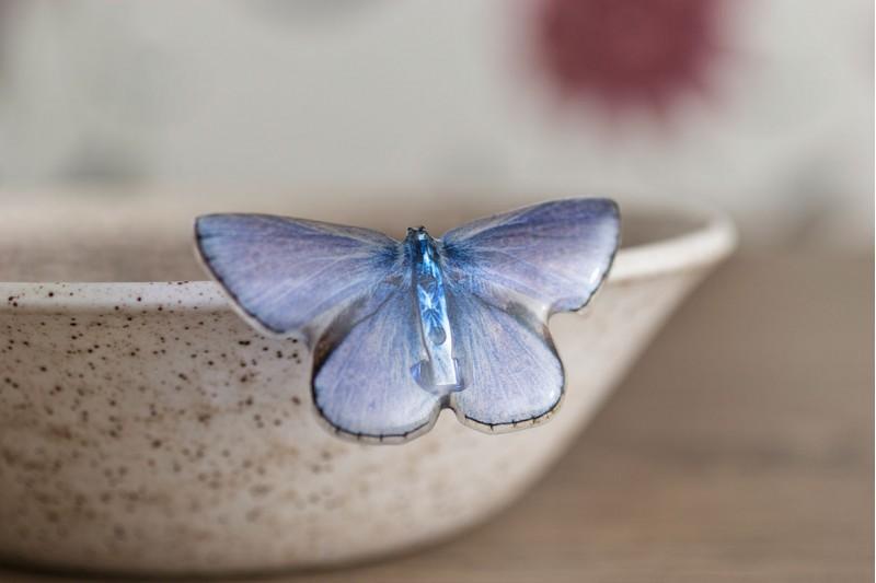 Common Blue butterfly brooch