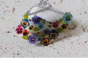 Pansy long bouquet necklace