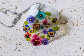 Pansy bouquet necklace