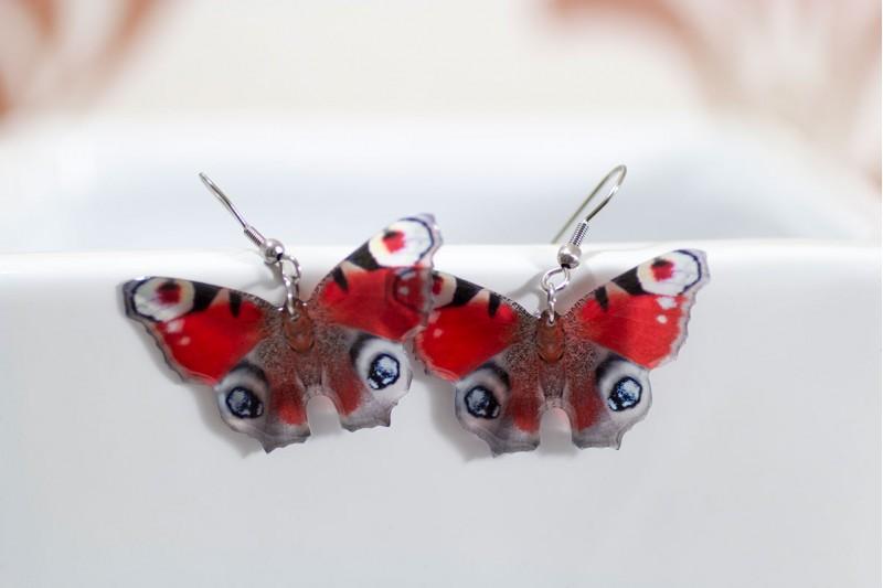 Peacock butterfly earrings
