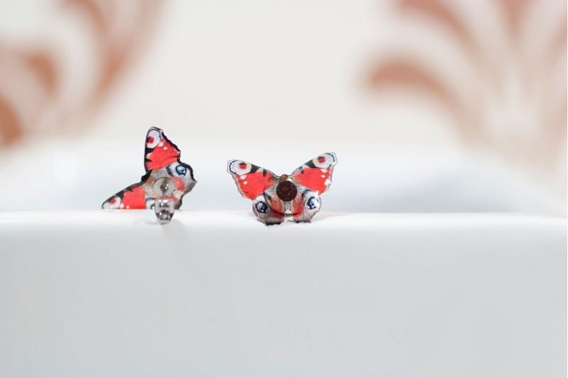 Peacock butterfly stud earrings