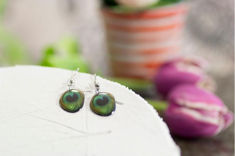 Peacock small earrings