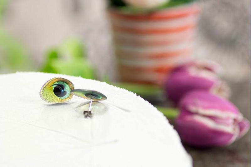 Peacock stud earrings